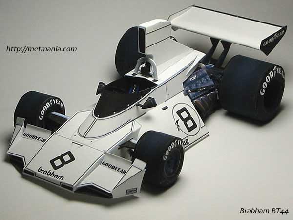 Модель гоночного автомобиля из бумаги.  1.1 Мб.  Просмотров: 460 Добавил: wp Дата.  1974 Brabham BT44.